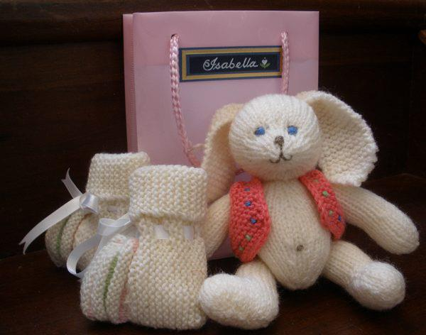knitted rabbit and booties
