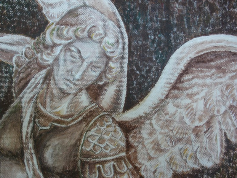 close up of Archangel Michael painting