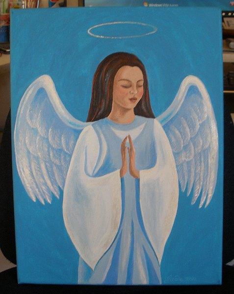 praying angel painting, revised