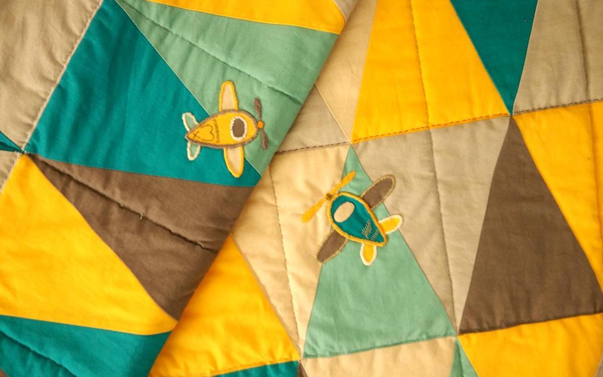 Sunny Blue Sky Triangle Quilt