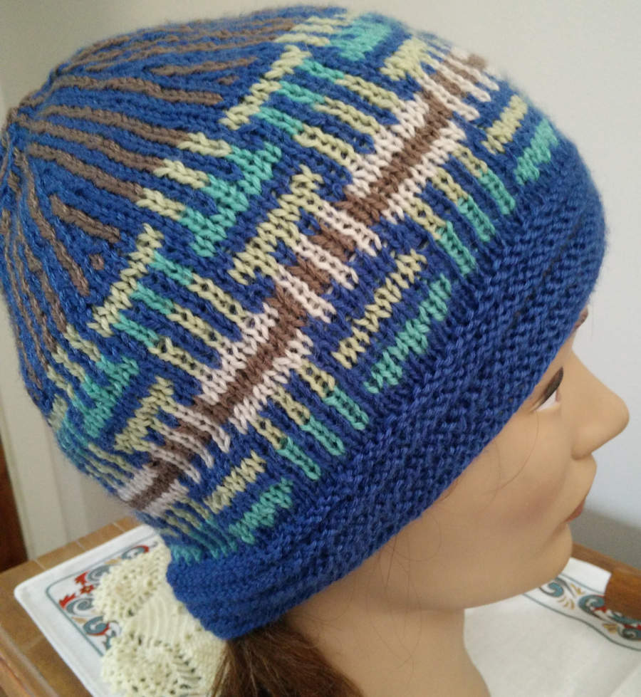 Blue weave knitted beanie